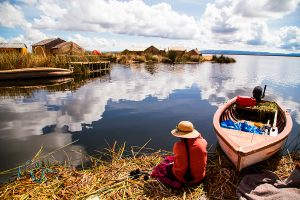 Uros island in Lake Titicaca, Peru
