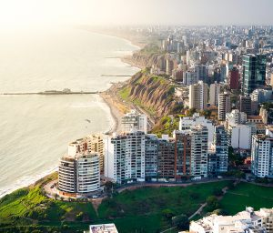 Lima, Aerial view of Miraflores town