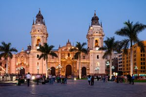 The Basilica Cathedral of Lima at sunset