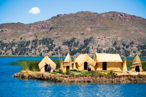 Uros island on Lake Titicaca, Peru