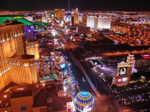 night panorama of las vegas boulevard