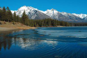 rocky mountains around lake minnewanka
