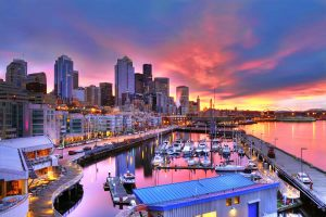 seattle skyline dazzling under a beautiful dawn sky across pier-66