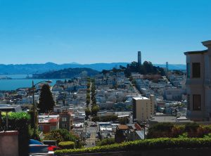 view of the bay from top of lombard street of san francisco